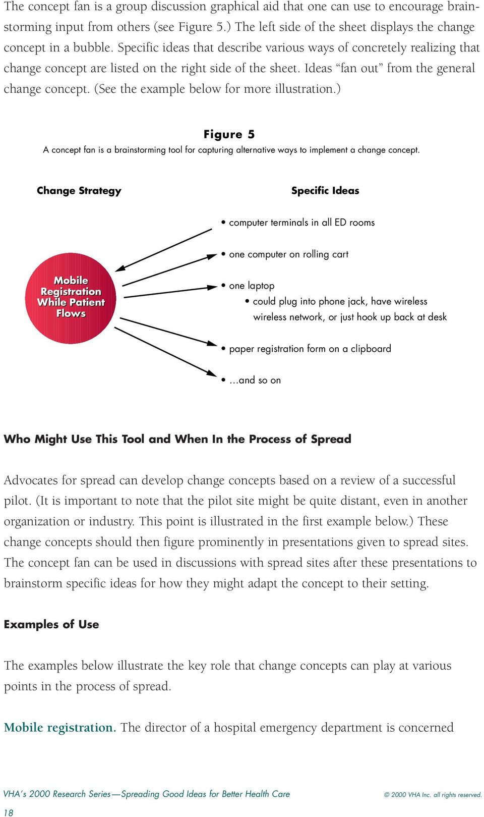 (See the example below for more illustration.) Figure 5 A concept fan is a brainstorming tool for capturing alternative ways to implement a change concept.