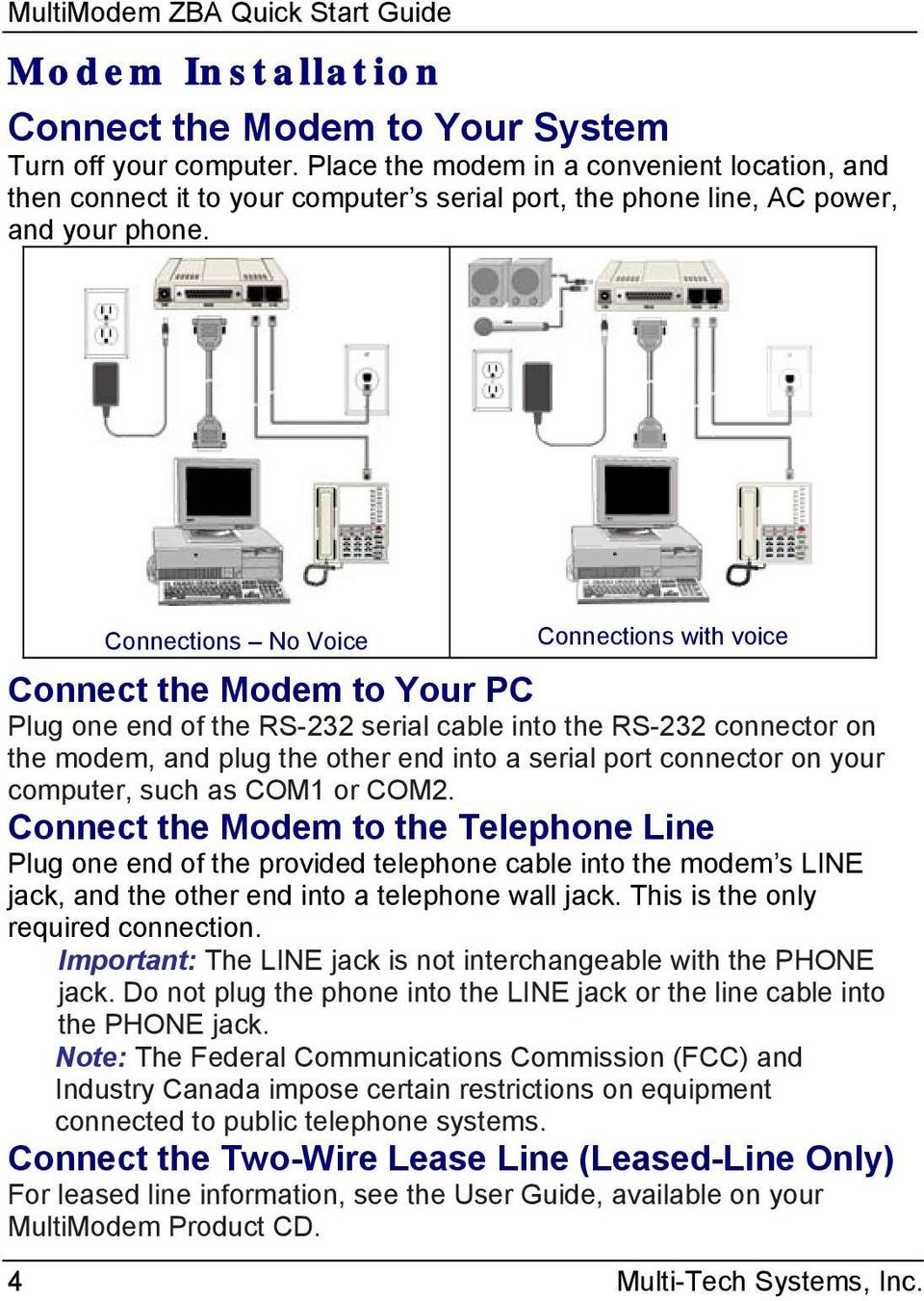 Multimodem Zba Quick Start Guide Mt9234zba Series Usb Serial Port Cable Connection Diagram Usrobotics 56k Dialup Connections No Voice With Connect The Modem To Your Pc Plug One End Of
