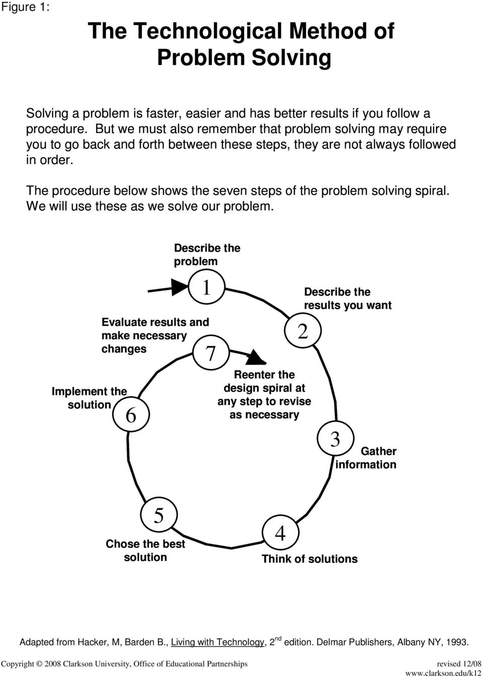The procedure below shows the seven steps of the problem solving spiral. We will use these as we solve our problem.
