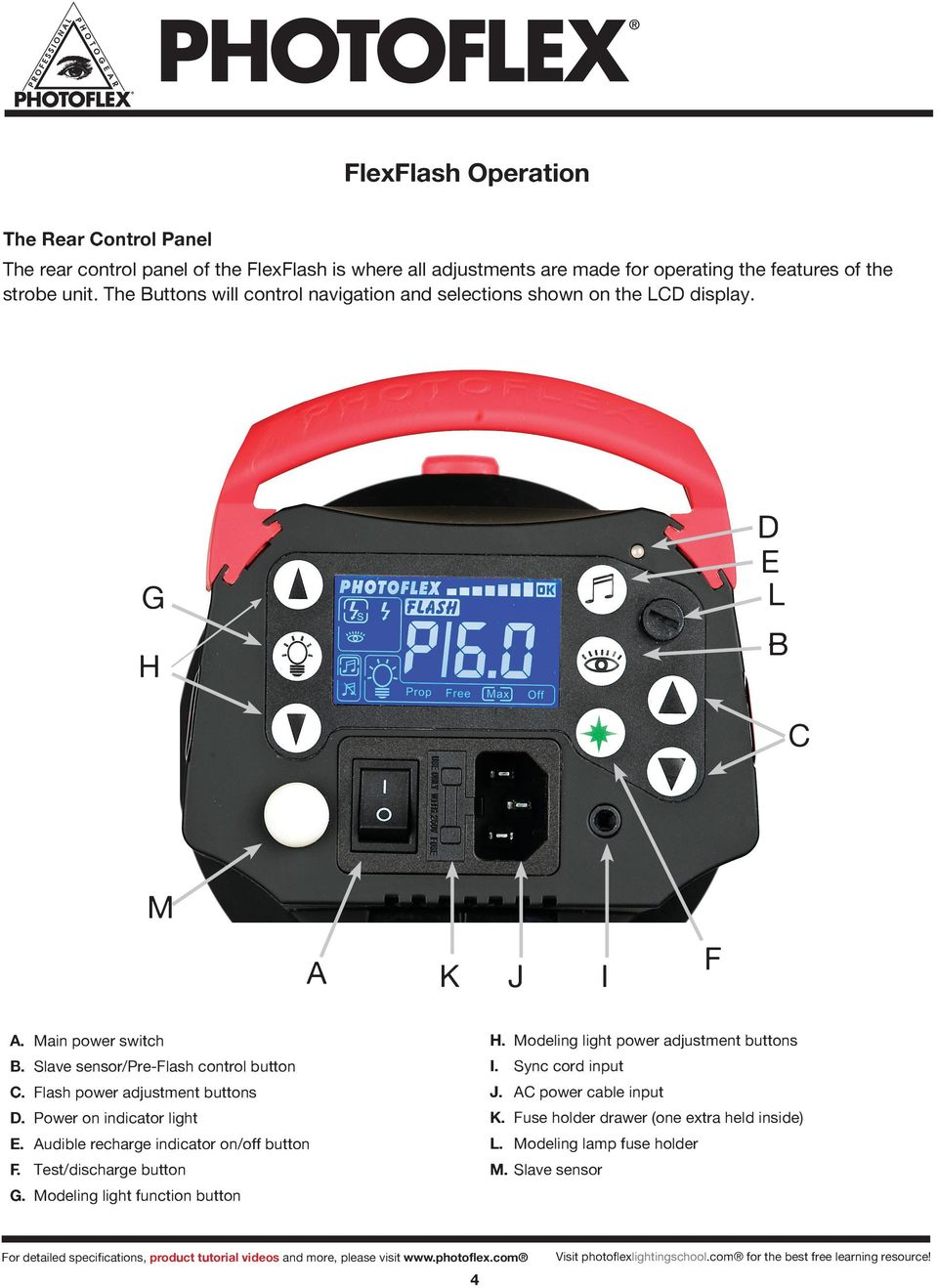 Flash power adjustment buttons D. Power on indicator light E. Audible recharge indicator on/off button F. Test/discharge button G. Modeling light function button H.