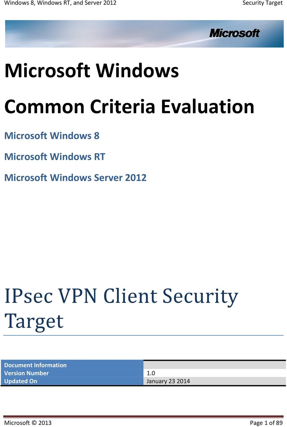 IPsec VPN Client Security Target Document Information