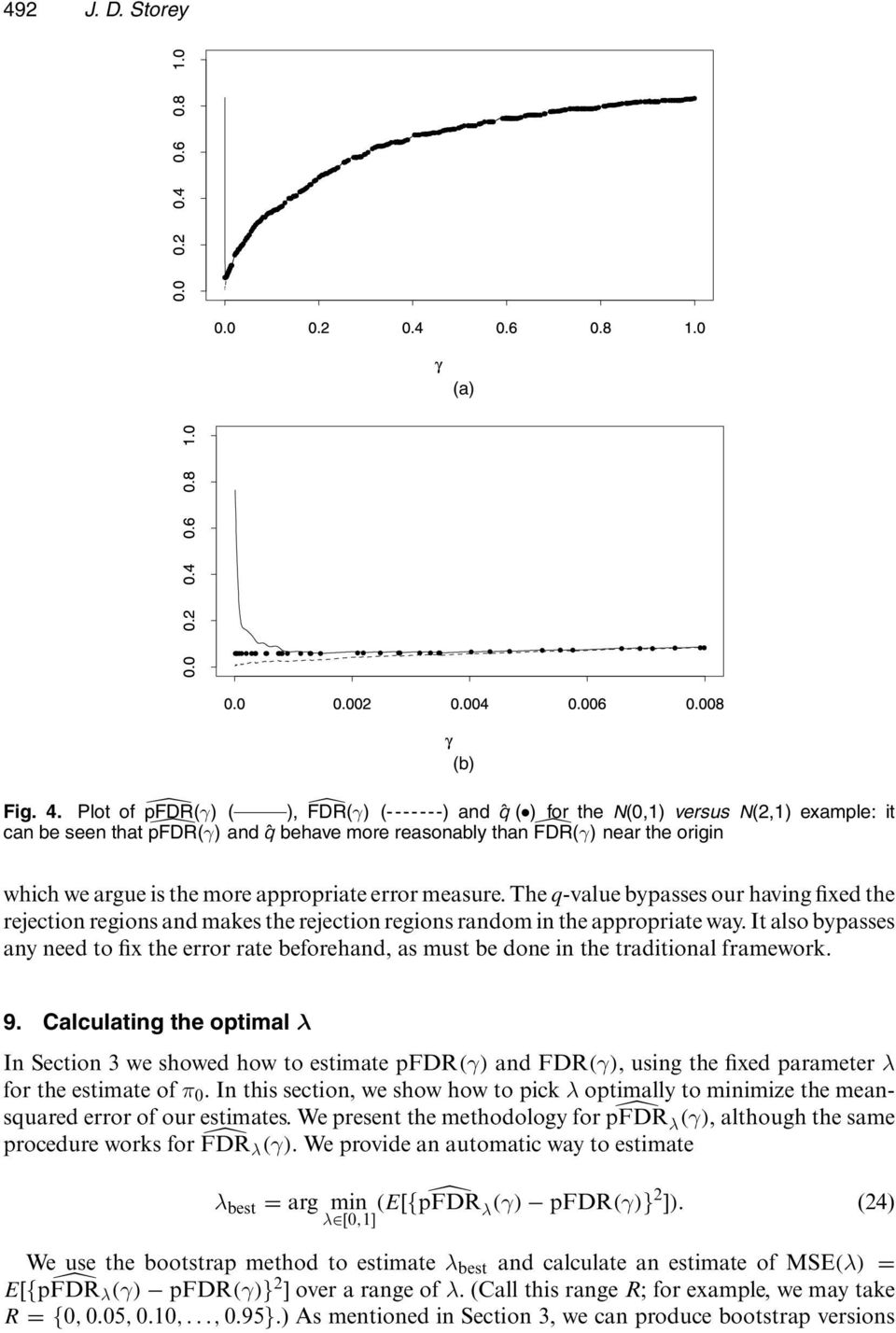 It also bypasses any need to fix the error rate beforehand, as must be done in the traditional framework. 9. Calculating the optimal λ In Section 3 we showed how to estimate pfdr.γ/ and FDR.