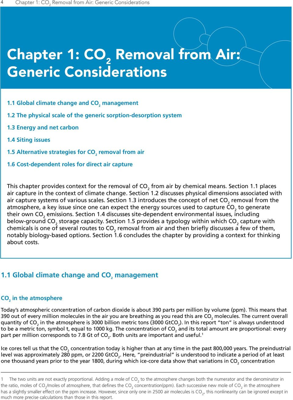 6 Cost-dependent roles for direct air capture This chapter provides context for the removal of from air by chemical means. Section 1.