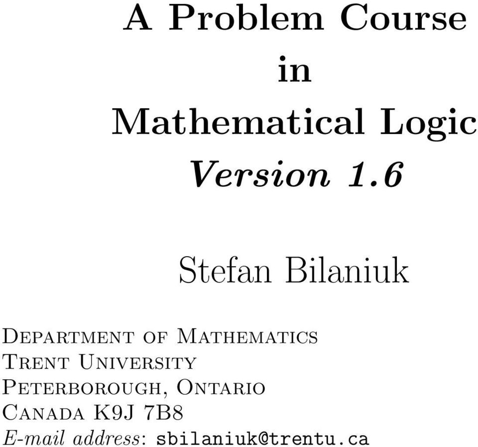 6 Stefan Bilaniuk Department of Mathematics
