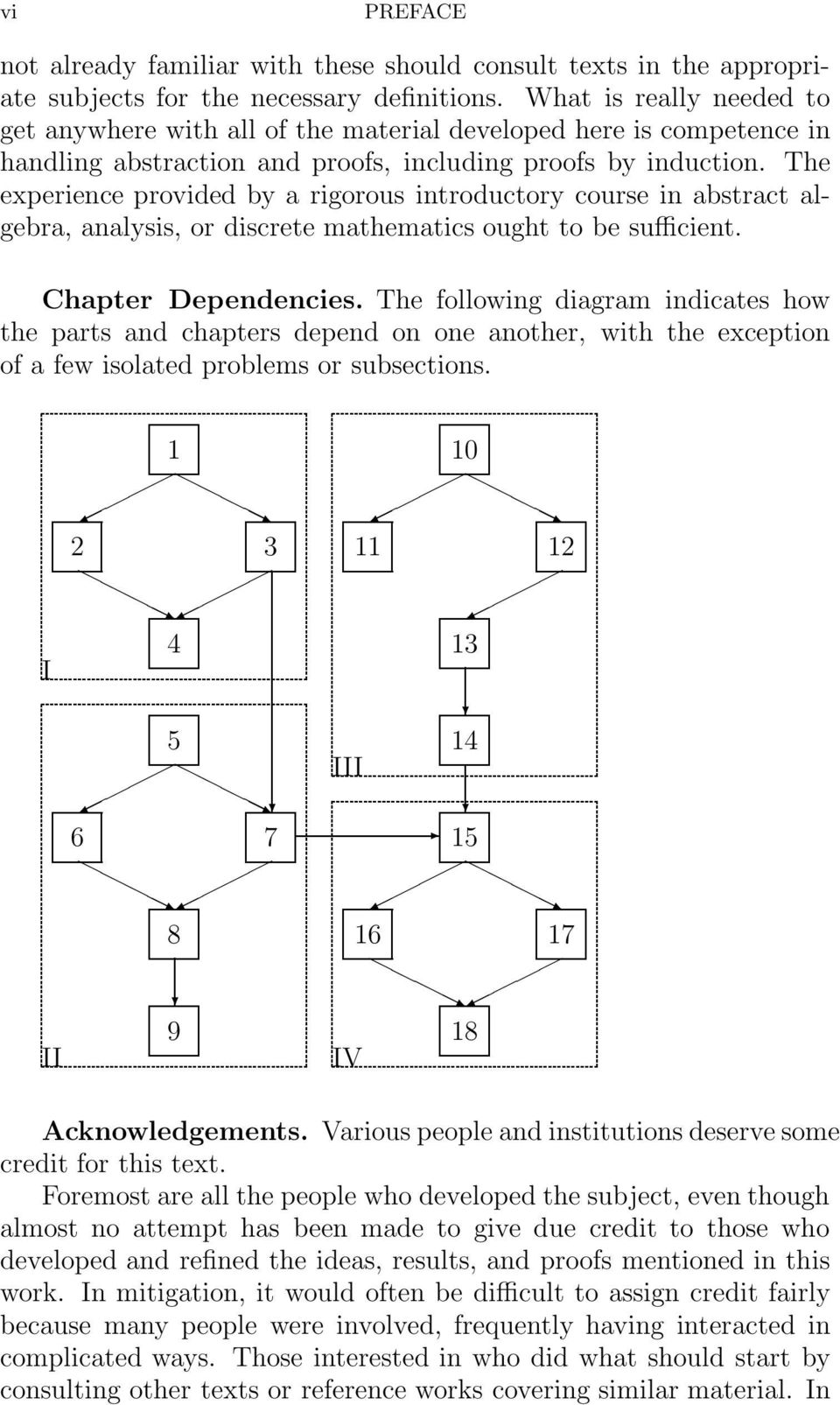 The experience provided by a rigorous introductory course in abstract algebra, analysis, or discrete mathematics ought to be sufficient. Chapter Dependencies.