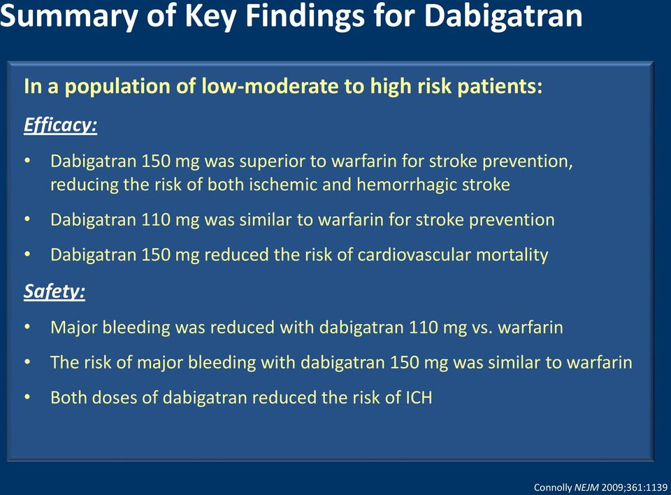 prevention Dabigatran 150 mg reduced the risk of cardiovascular mortality Safety: Major bleeding was reduced with dabigatran 110 mg vs.