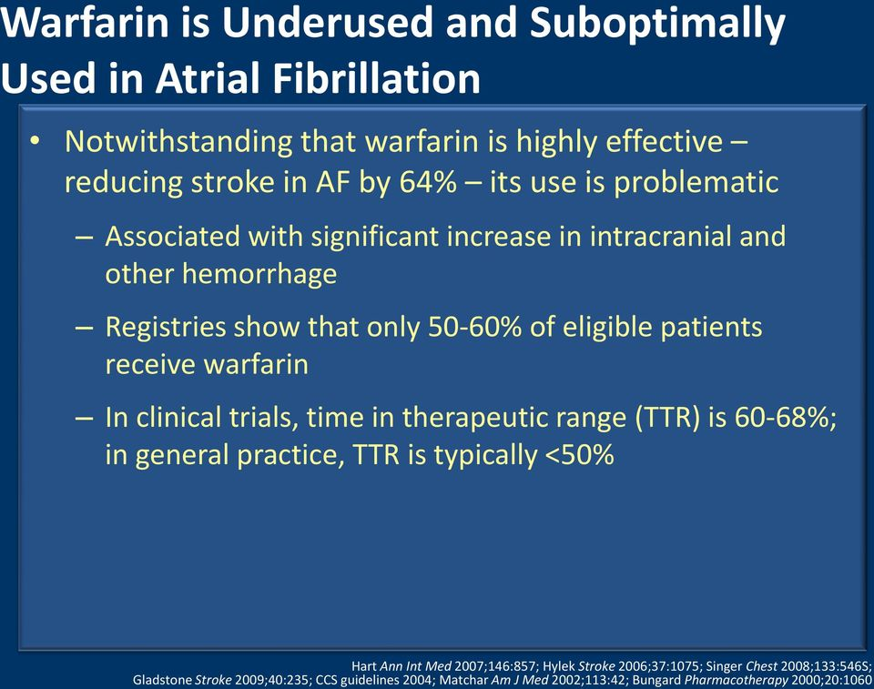 warfarin In clinical trials, time in therapeutic range (TTR) is 60-68%; in general practice, TTR is typically <50% Hart Ann Int Med 2007;146:857; Hylek