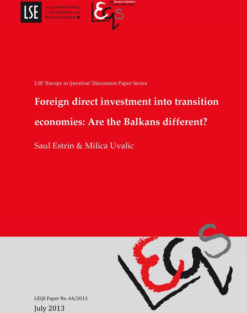 investment into transition economies: Are the Balkans