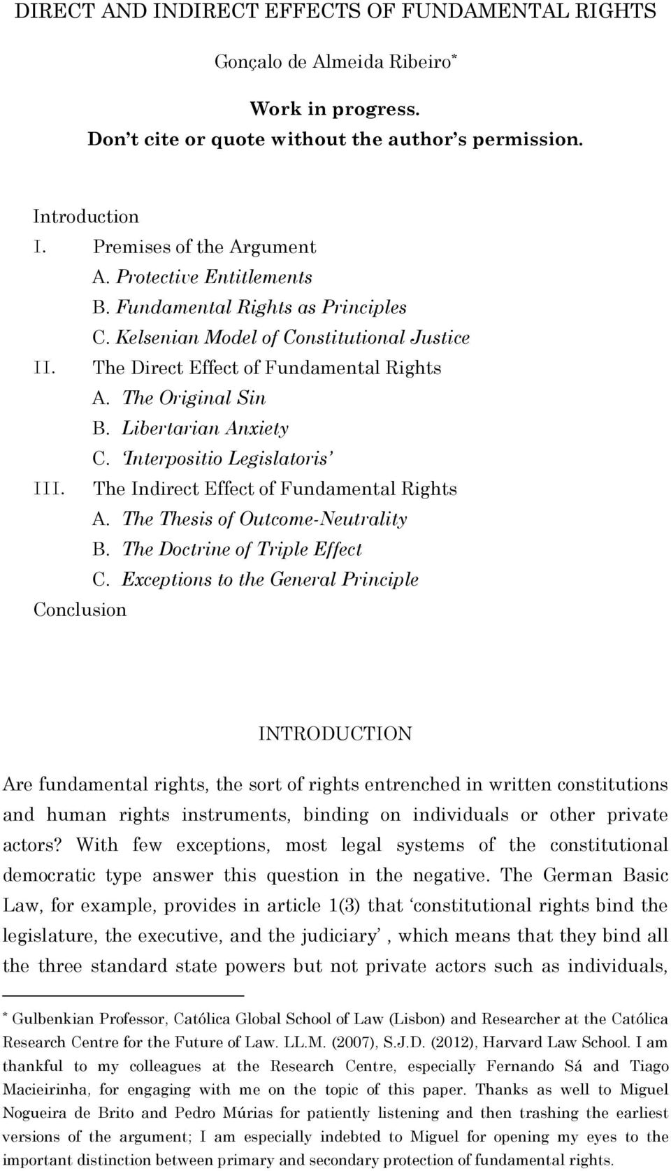 Interpositio Legislatoris III. The Indirect Effect of Fundamental Rights A. The Thesis of Outcome-Neutrality B. The Doctrine of Triple Effect C.