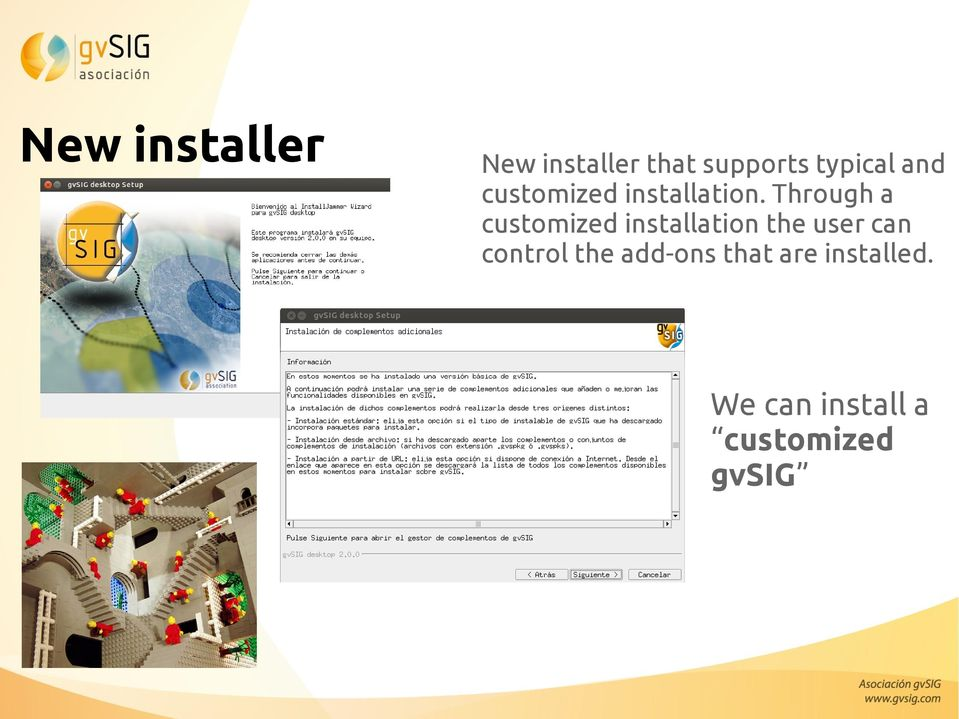 Through a customized installation the user can