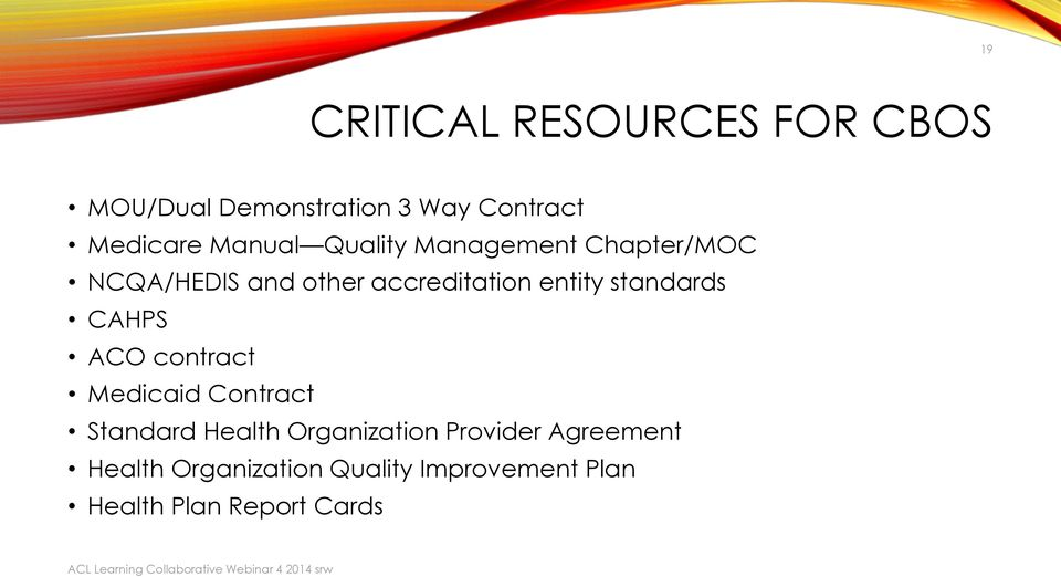 standards CAHPS ACO contract Medicaid Contract Standard Health Organization