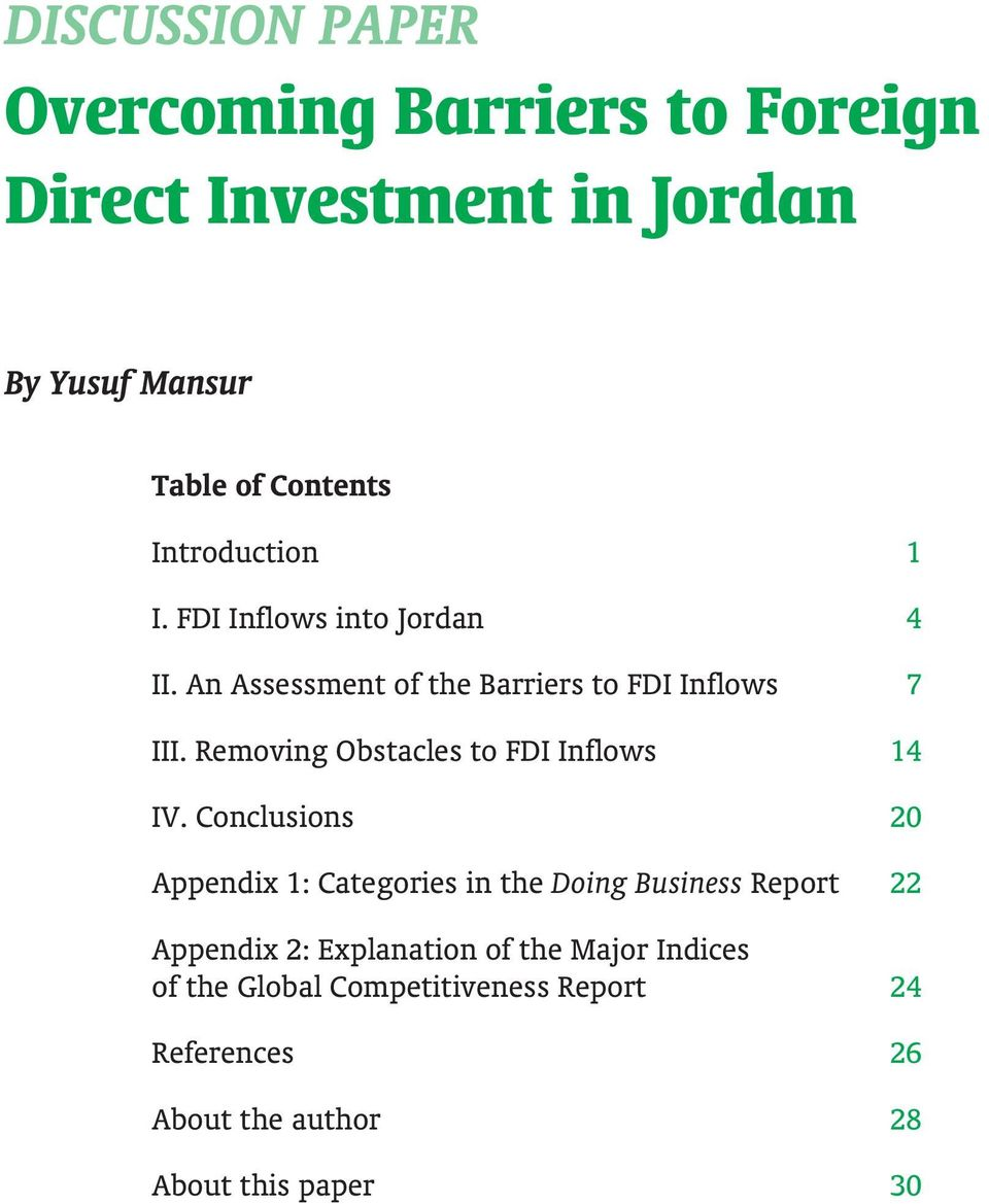 Removing Obstacles to FDI Inflows 14 IV.