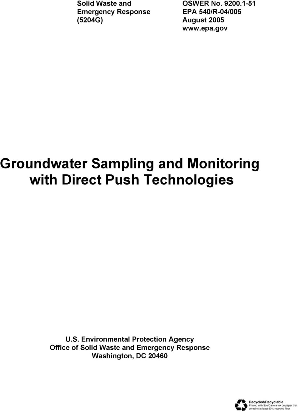 gov Groundwater Sampling and Monitoring with Direct Push