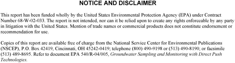 Mention of trade names or commercial products does not constitute endorsement or recommendation for use.