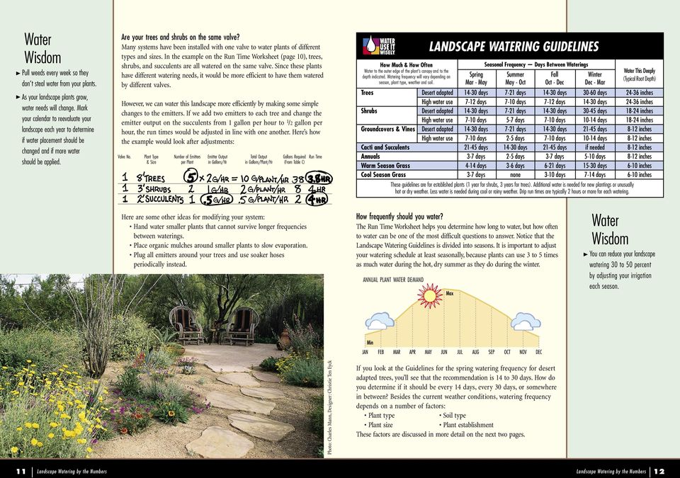 Many systems have been installed with one valve to water plants of different types and sizes In the example on the Run Time Worksheet (page 10), trees, shrubs, and succulents are all watered on the