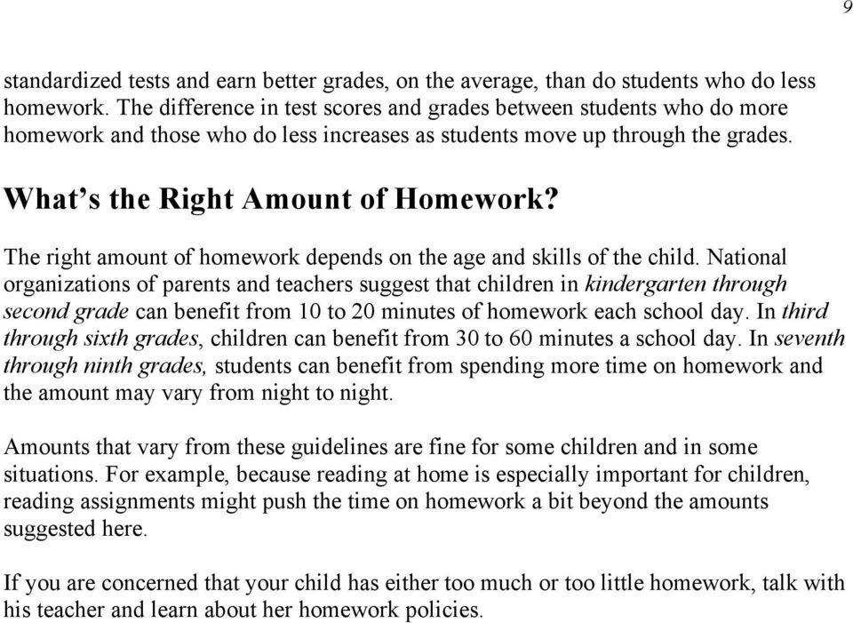 The right amount of homework depends on the age and skills of the child.