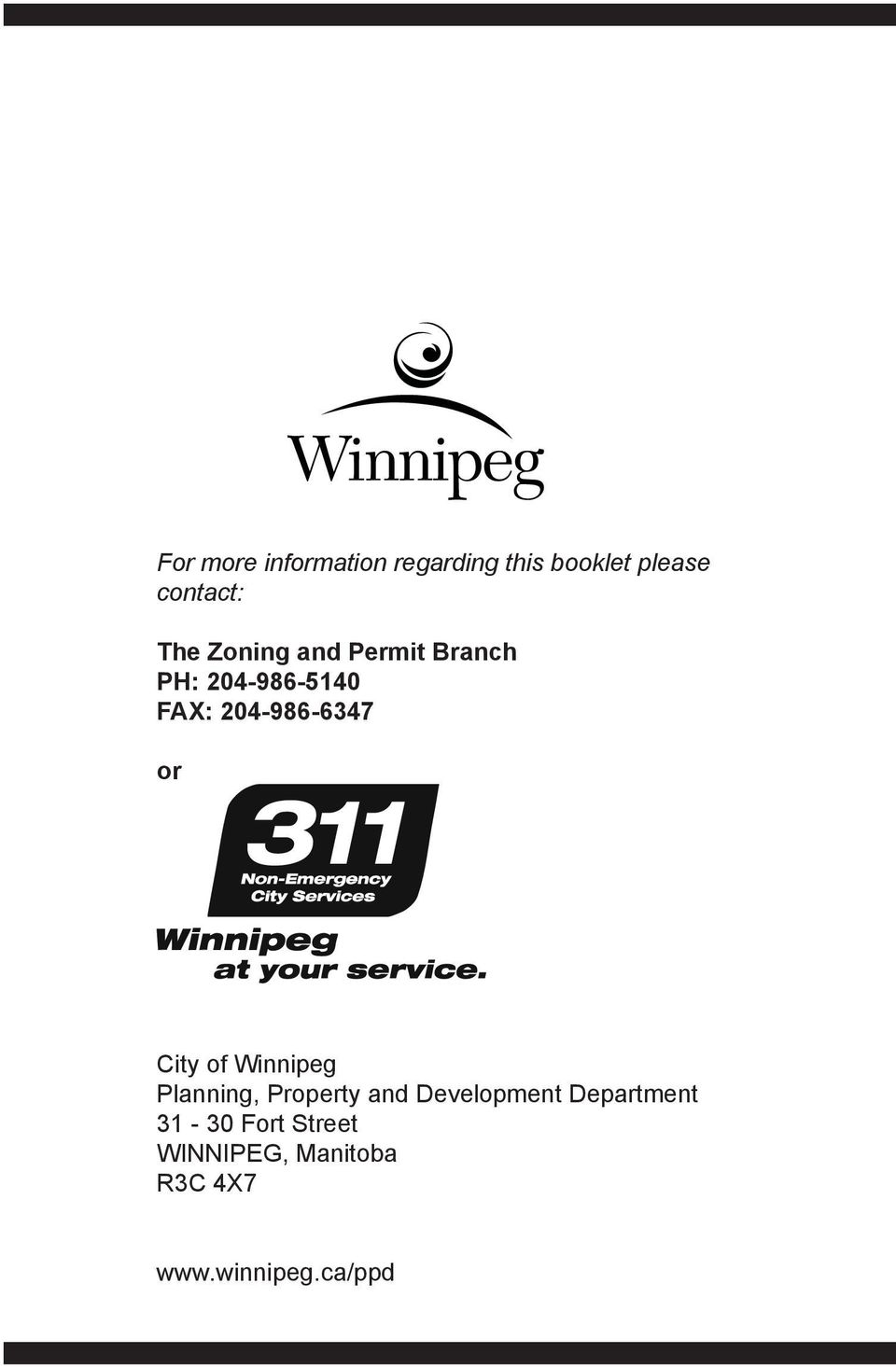 City of Winnipeg Planning, Property and Development Department