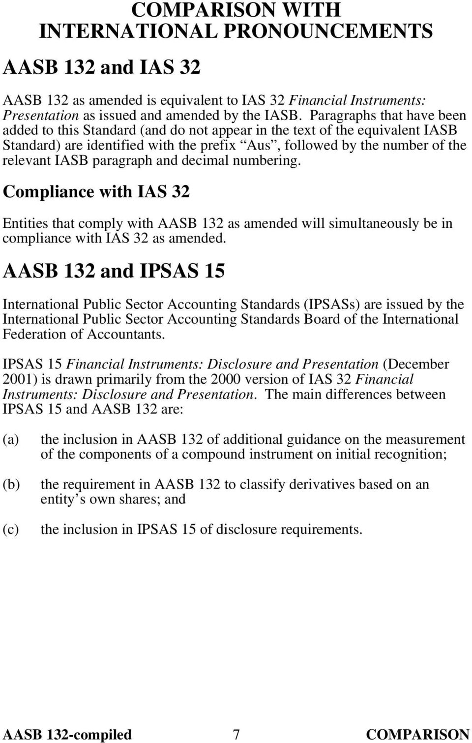 paragraph and decimal numbering. Compliance with IAS 32 Entities that comply with AASB 132 as amended will simultaneously be in compliance with IAS 32 as amended.