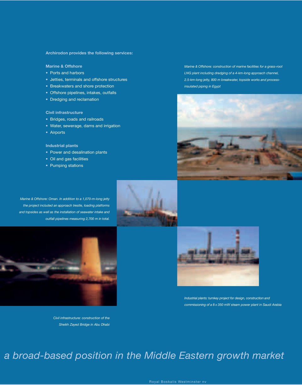 5-km-long jetty, 800 m breakwater, topside works and processinsulated piping in Egypt Civil infrastructure Bridges, roads and railroads Water, sewerage, dams and irrigation Airports Industrial plants