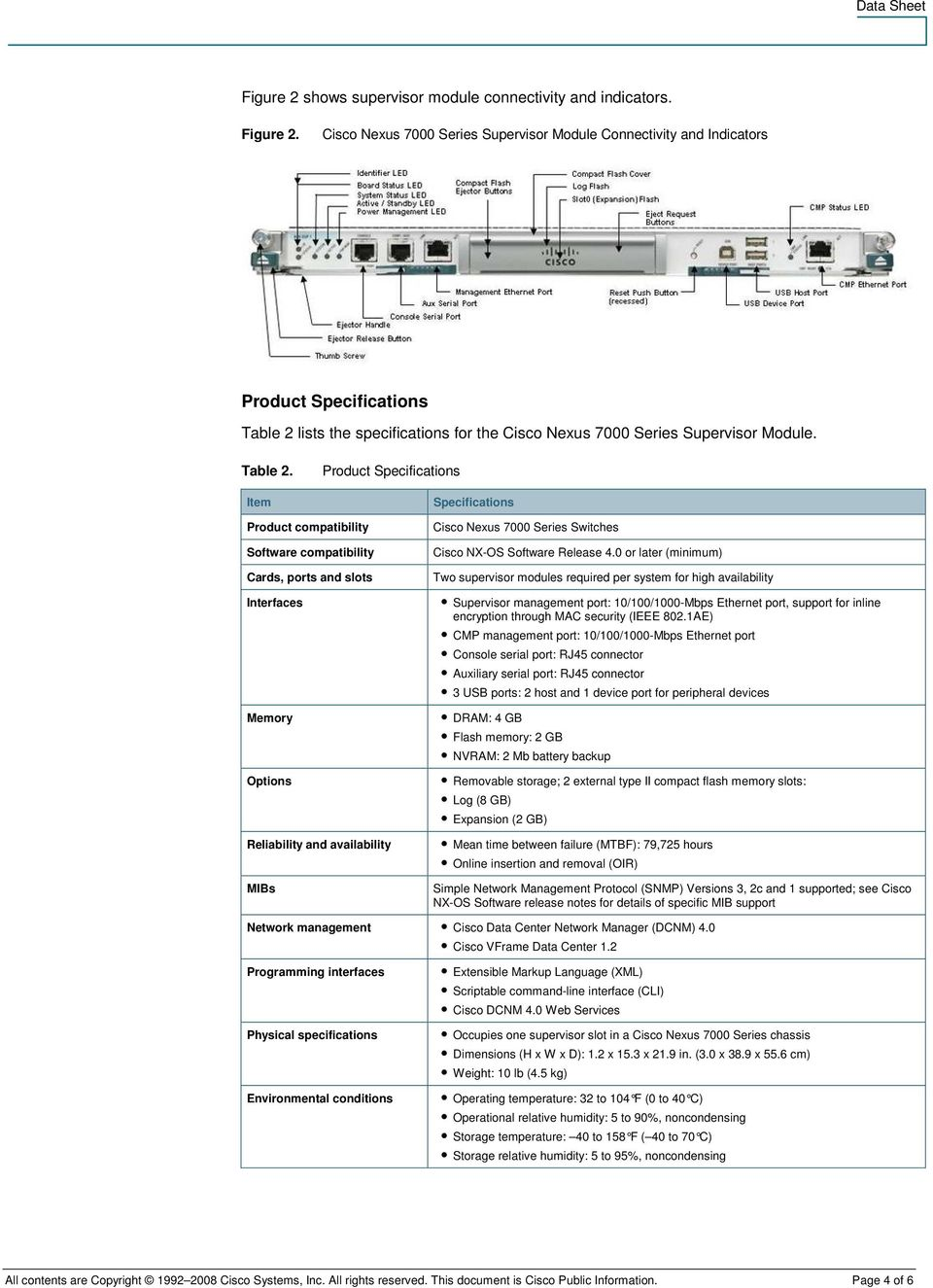 lists the specifications for the Cisco Nexus 7000 Series Supervisor Module. Table 2.