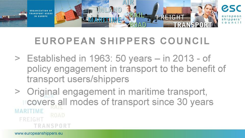 of transport users/shippers > Original engagement in