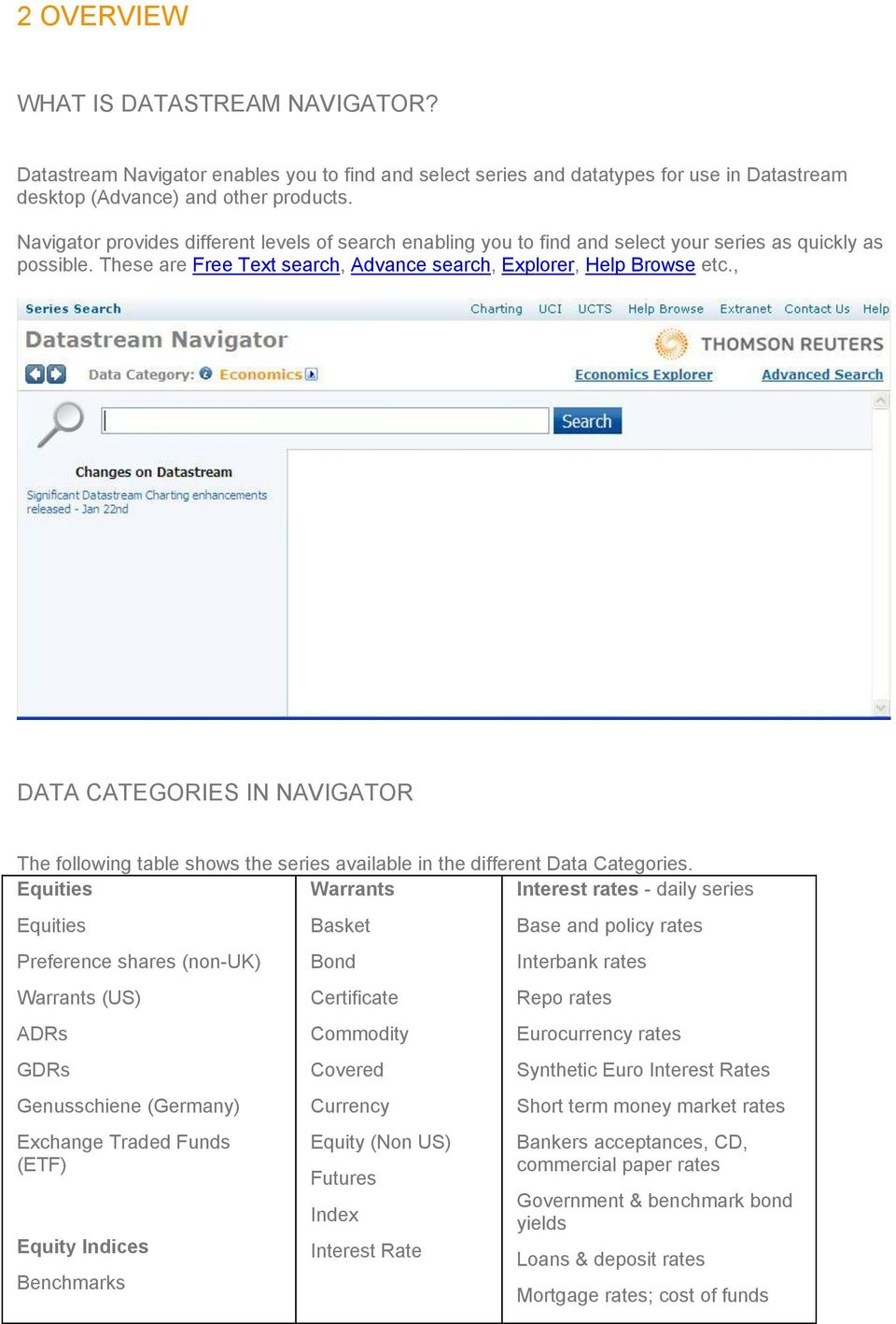 , DATA CATEGORIES IN NAVIGATOR The following table shows the series available in the different Data Categories.