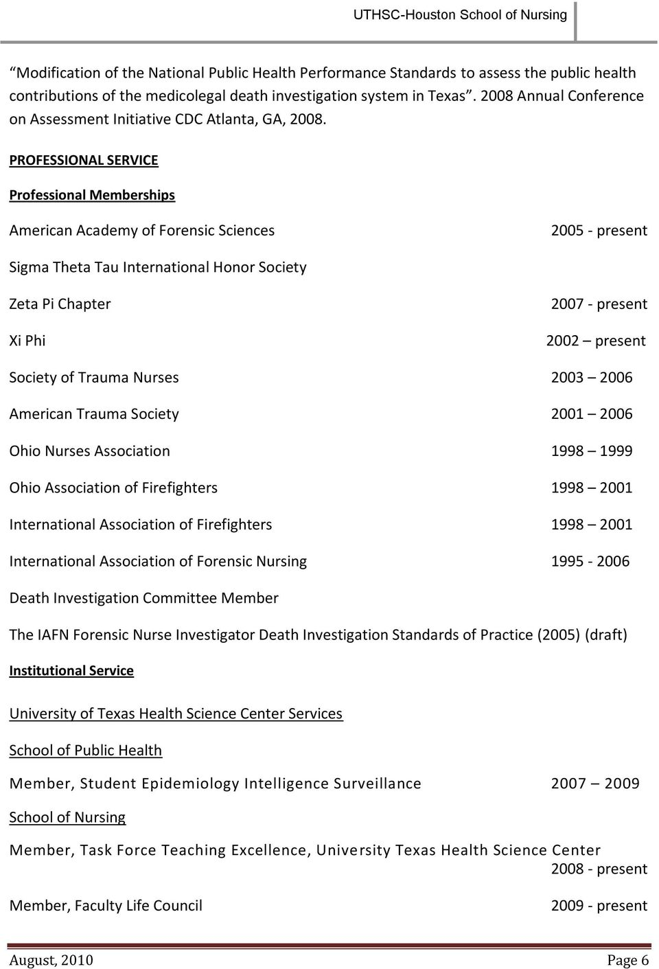 PROFESSIONAL SERVICE Professional Memberships American Academy of Forensic Sciences 2005 - present Sigma Theta Tau International Honor Society Zeta Pi Chapter Xi Phi 2007 - present 2002 present