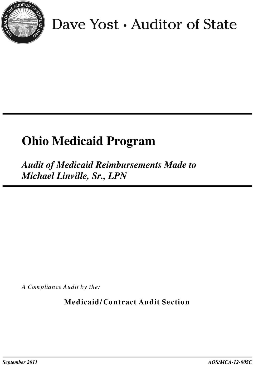 Medicaid/Contract Audit