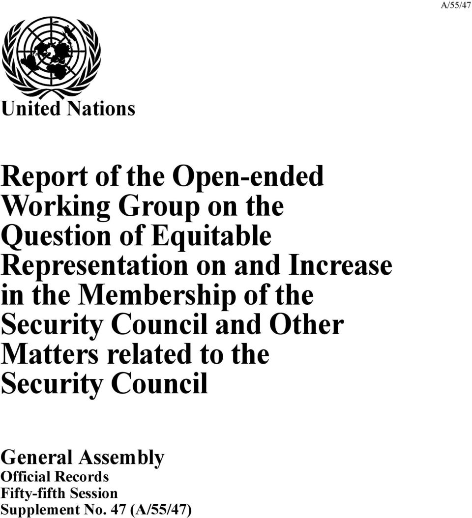 Security Council and Other Matters related to the Security Council