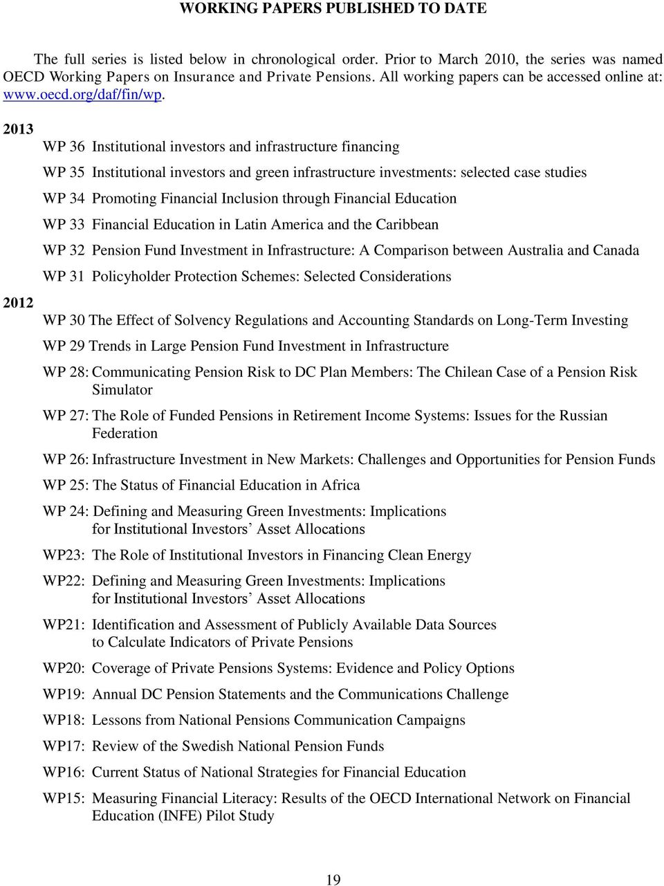 2013 2012 WP 36 Institutional investors and infrastructure financing WP 35 Institutional investors and green infrastructure investments: selected case studies WP 34 Promoting Financial Inclusion