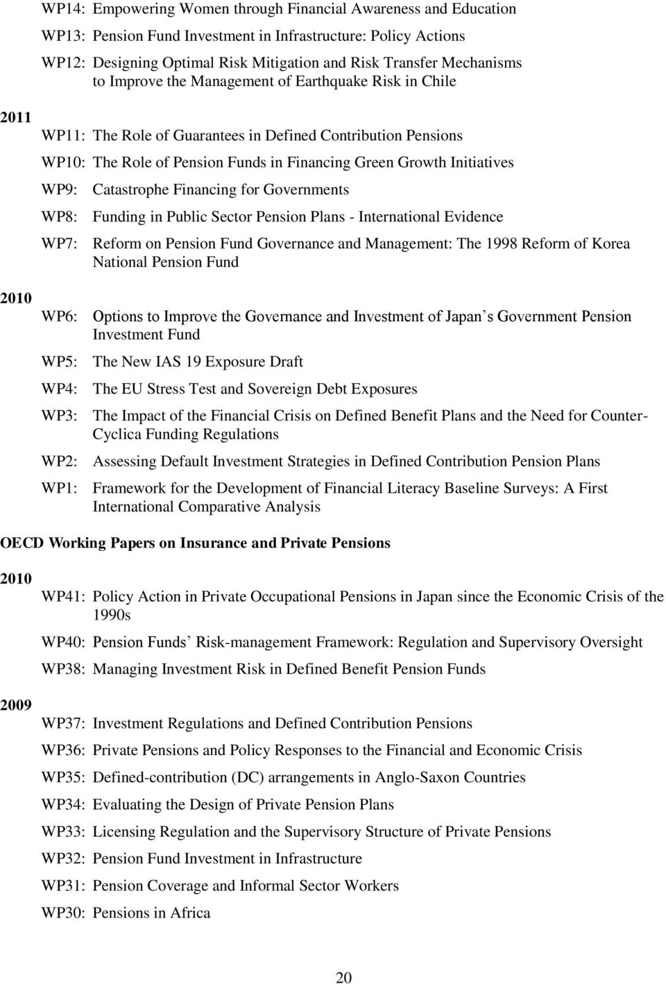 WP9: Catastrophe Financing for Governments WP8: Funding in Public Sector Pension Plans - International Evidence WP7: Reform on Pension Fund Governance and Management: The 1998 Reform of Korea