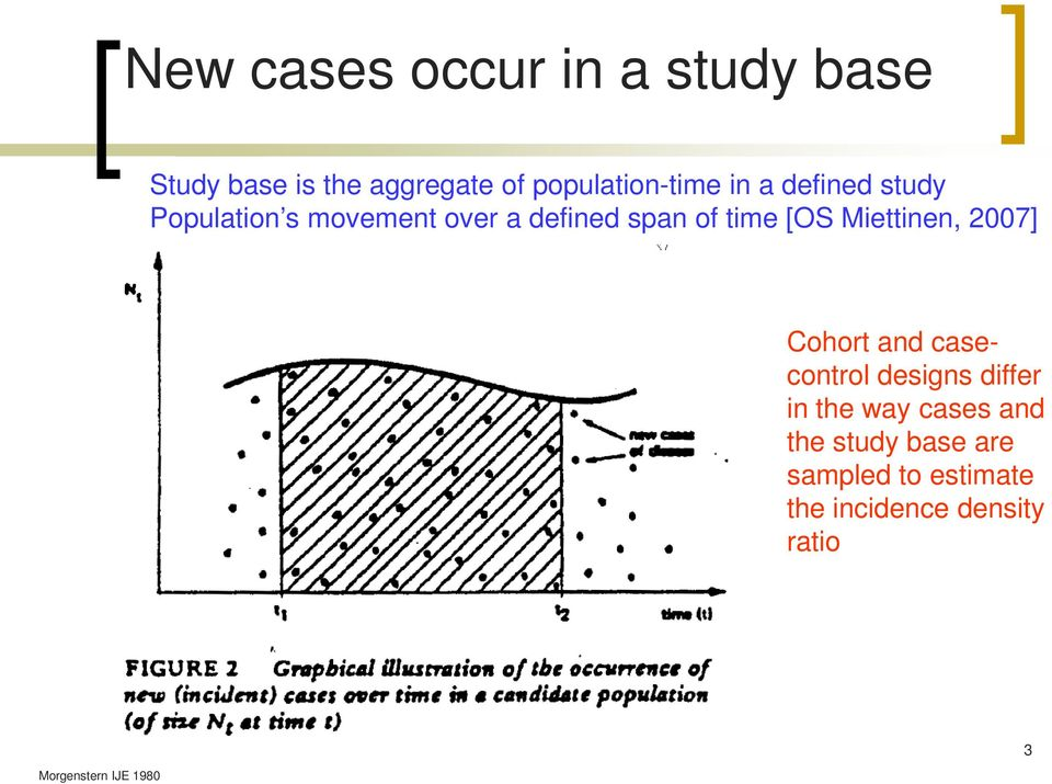 Miettinen, 2007] Cohort and casecontrol designs differ in the way cases and the
