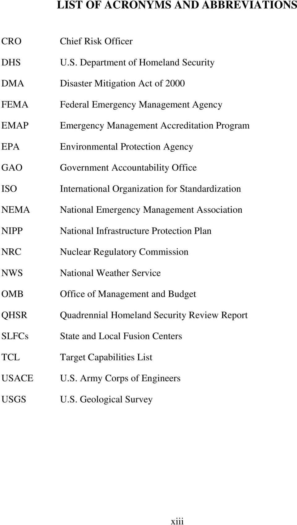 International Organization for Standardization National Emergency Management Association National Infrastructure Protection Plan Nuclear Regulatory Commission National Weather