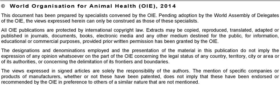 All OIE publications are protected by international copyright law.