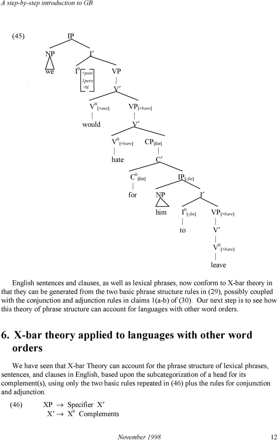 rules in claims 1(a-b) of (30). Our next step is to see how this theory of phrase structure can account for languages with other word orders. 6.