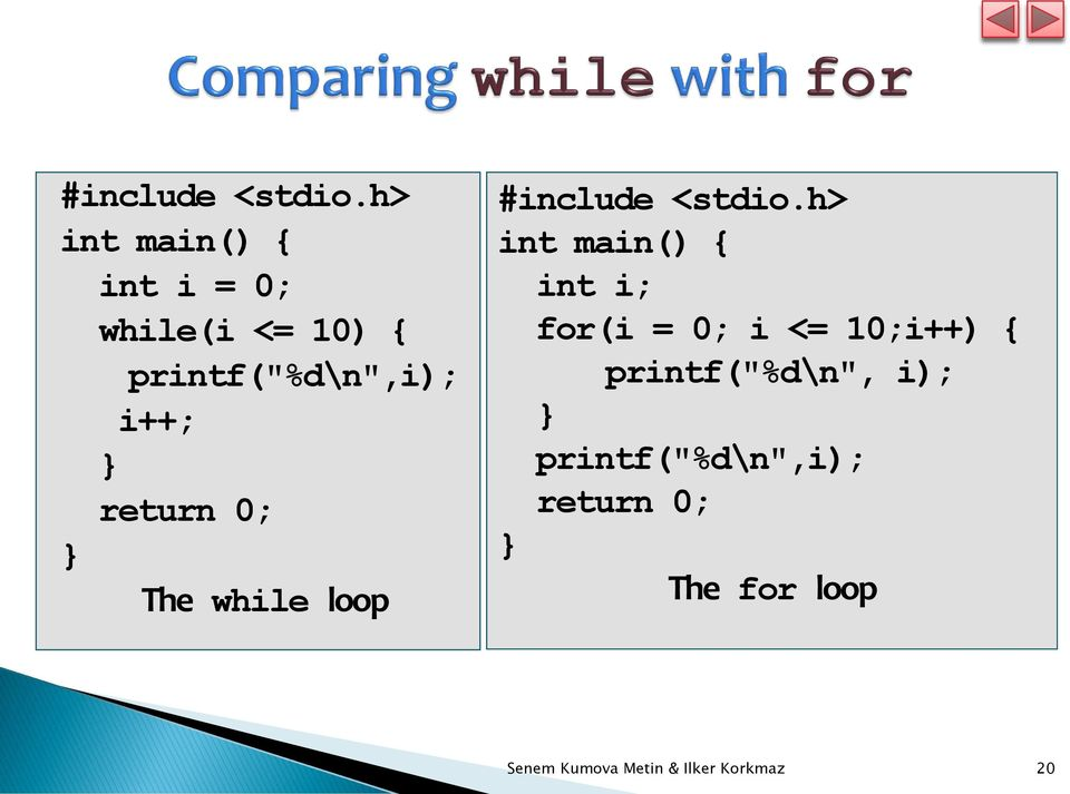 return 0; The while loop h> int main() { int i; for(i = 0; i <=