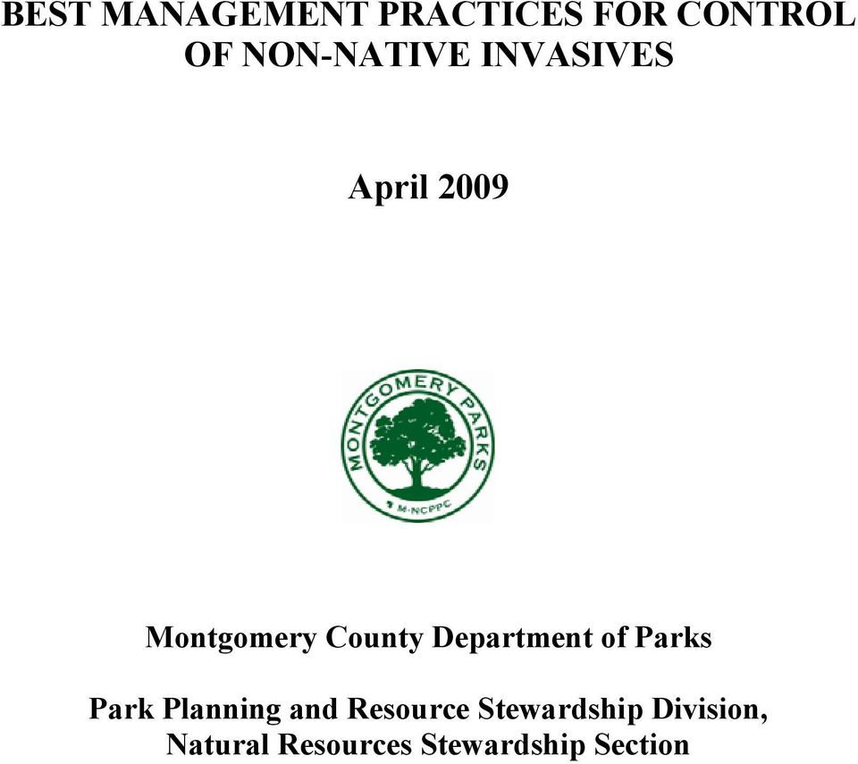 Department of Parks Park Planning and Resource
