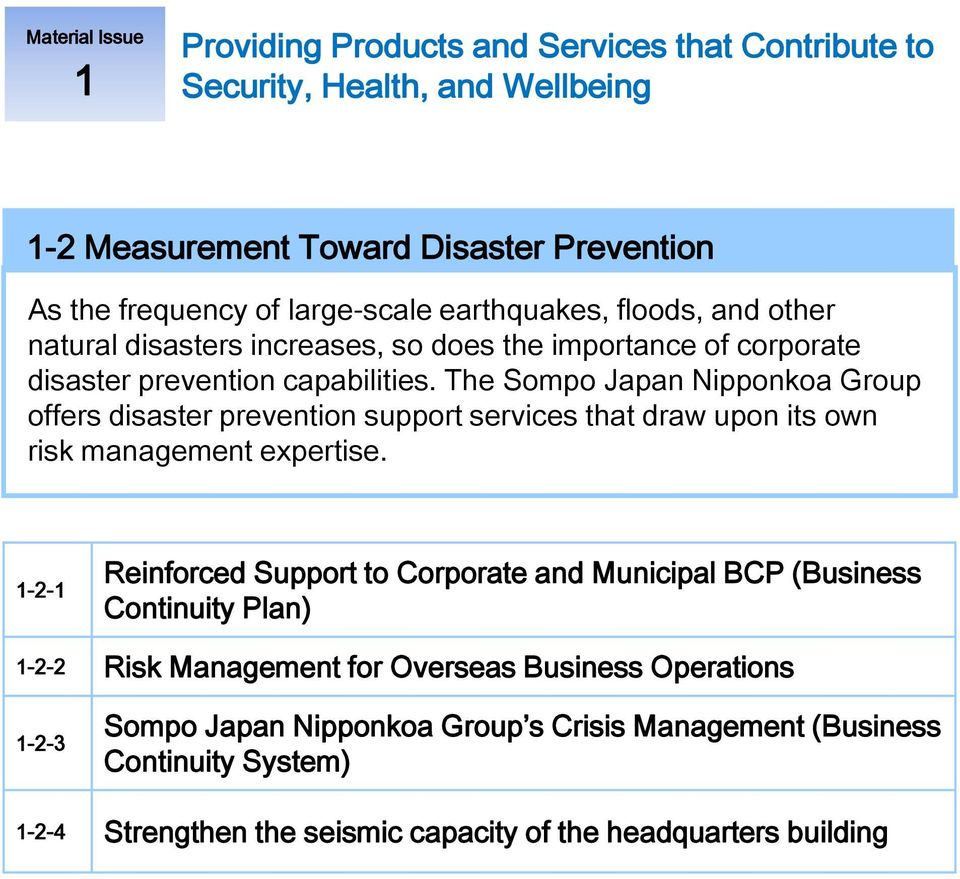 The Sompo Japan Nipponkoa Group offers disaster prevention support services that draw upon its own risk management expertise.