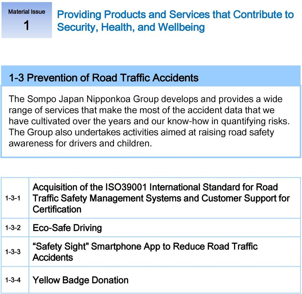 The Group also undertakes activities aimed at raising road safety awareness for drivers and children.
