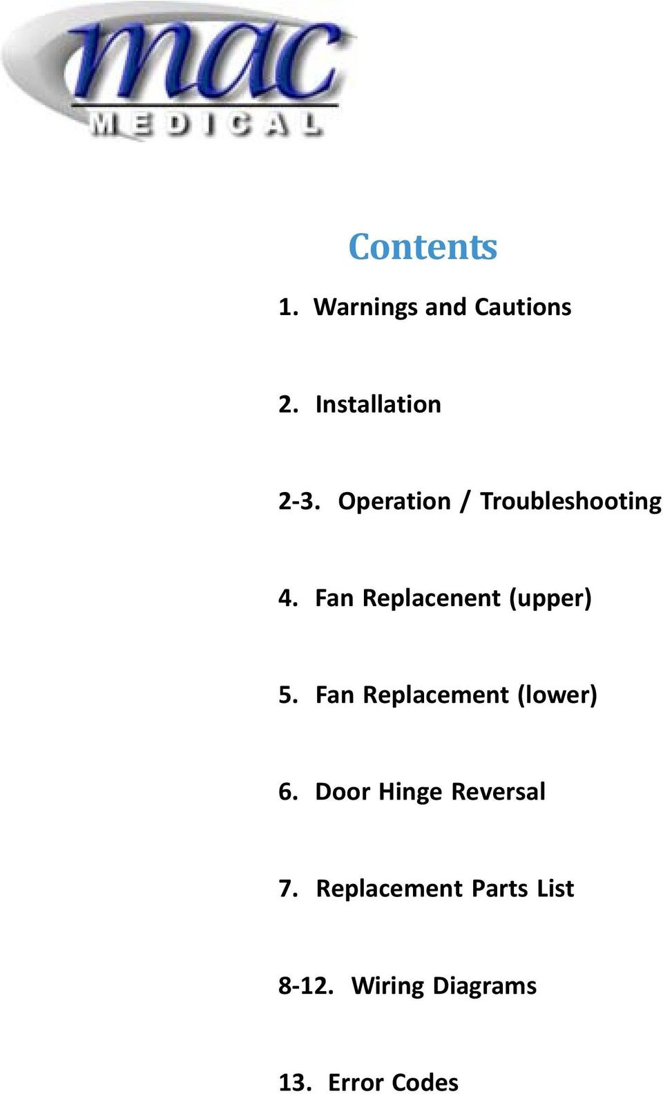 Fan Replacenent (upper) 5. Fan Replacement (lower) 6.