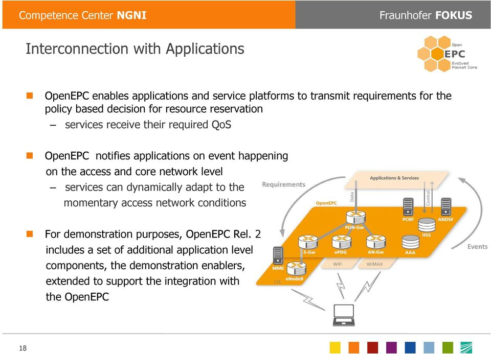 core network level services can dynamically adapt to the momentary access network conditions For demonstration purposes, OpenEPC Rel.
