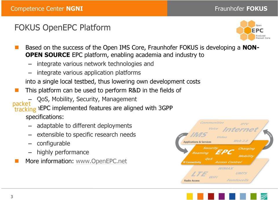 This platform can be used to perform R&D in the fields of QoS, Mobility, Security, Management OpenEPC implemented features are aligned with 3GPP