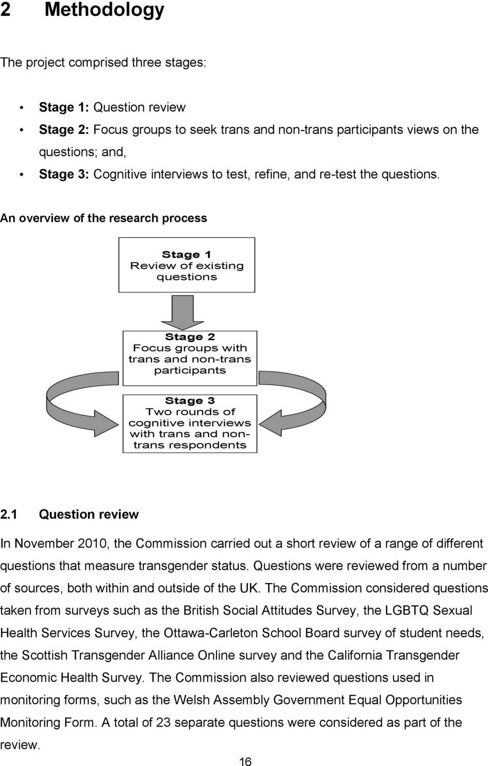 An overview of the research process Stage 1 Review of existing questions Stage 2 Focus groups with trans and non-trans participants Stage 3 Two rounds of cognitive interviews with trans and nontrans