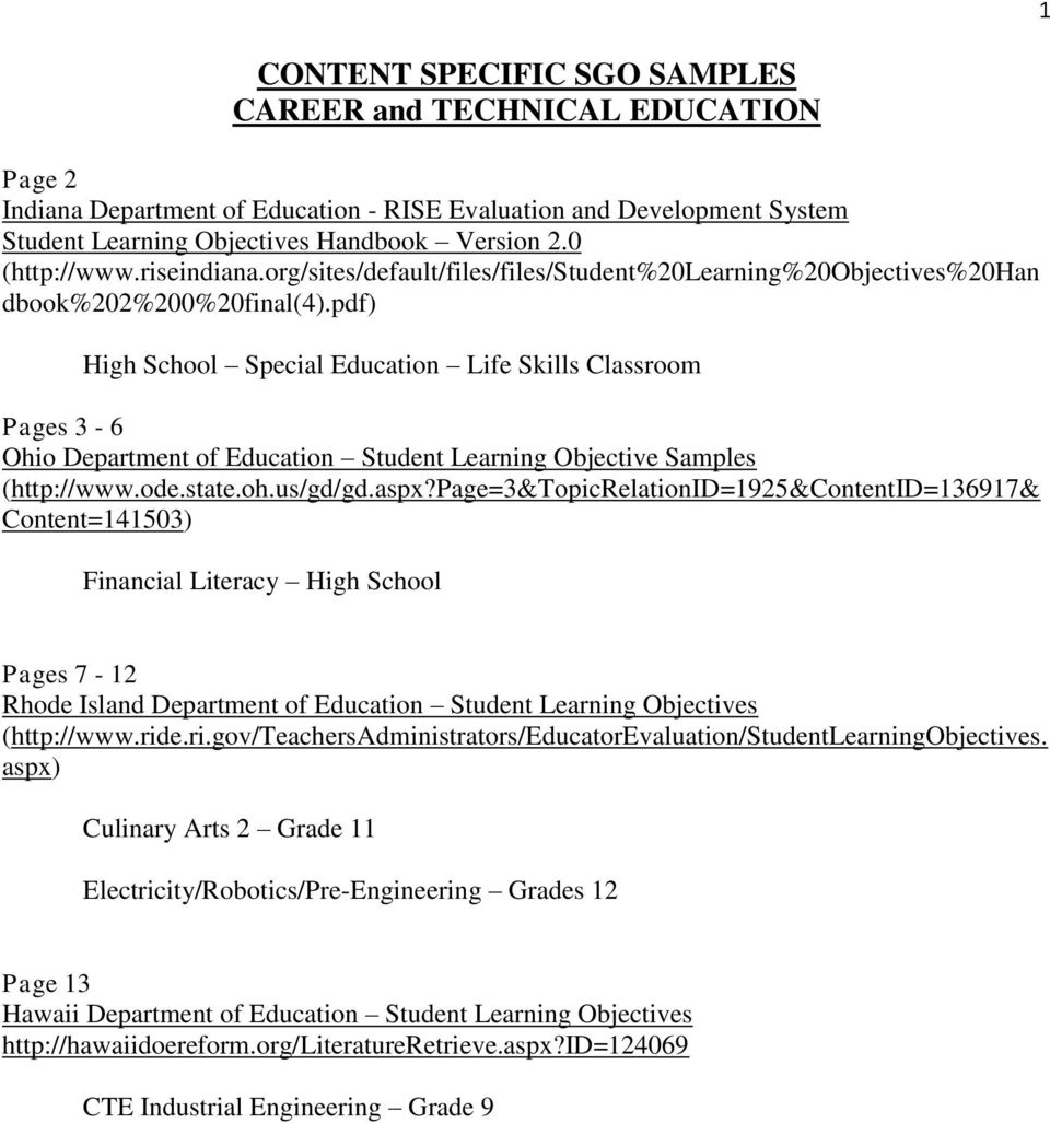 pdf) High School Special Education Life Skills Classroom Pages 3-6 Ohio Department of Education Student Learning Objective Samples (http://www.ode.state.oh.us/gd/gd.aspx?