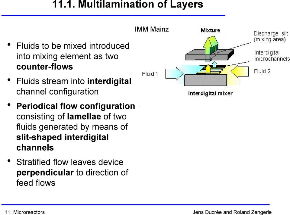 Periodical flow configuration consisting of lamellae of two fluids generated by means of