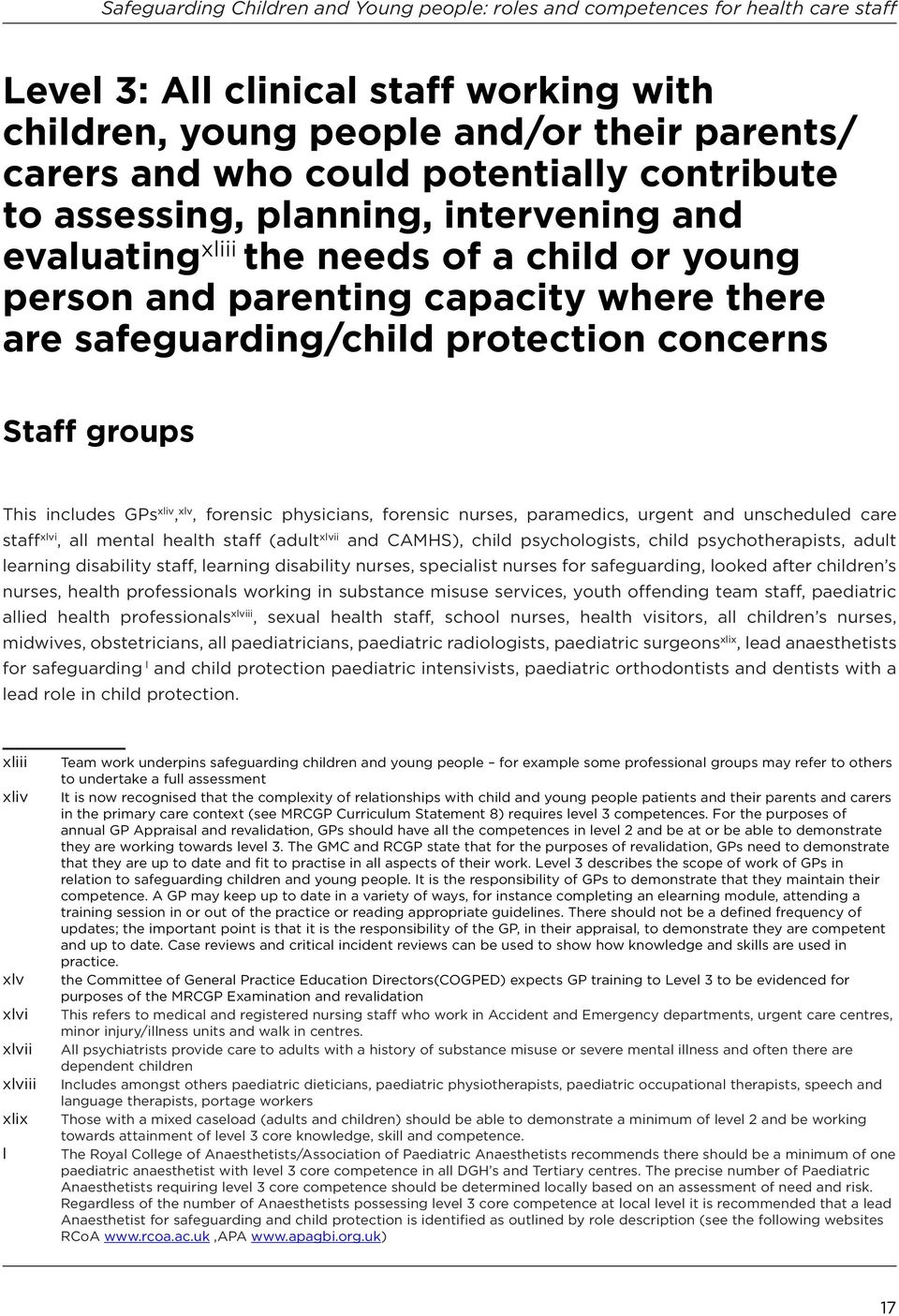 urgent and unscheduled care staff xlvi, all mental health staff (adult xlvii and CAMHS), child psychologists, child psychotherapists, adult learning disability staff, learning disability nurses,