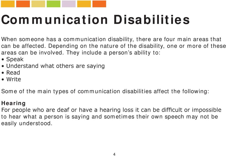 They include a person s ability to: Speak Understand what others are saying Read Write Some of the main types of communication
