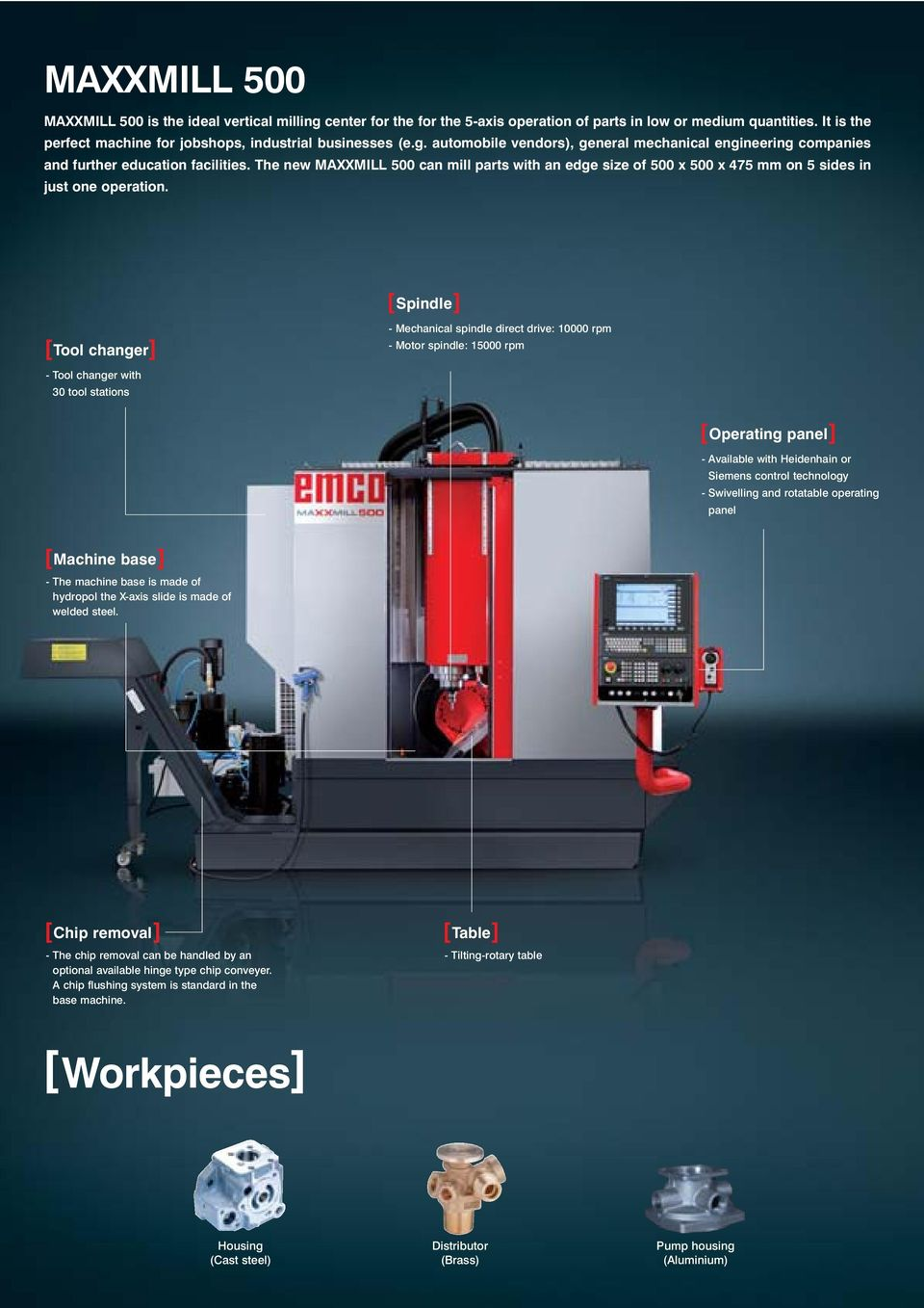The new MAXXMILL 500 can mill parts with an edge size of 500 x 500 x 475 mm on 5 sides in just one operation.