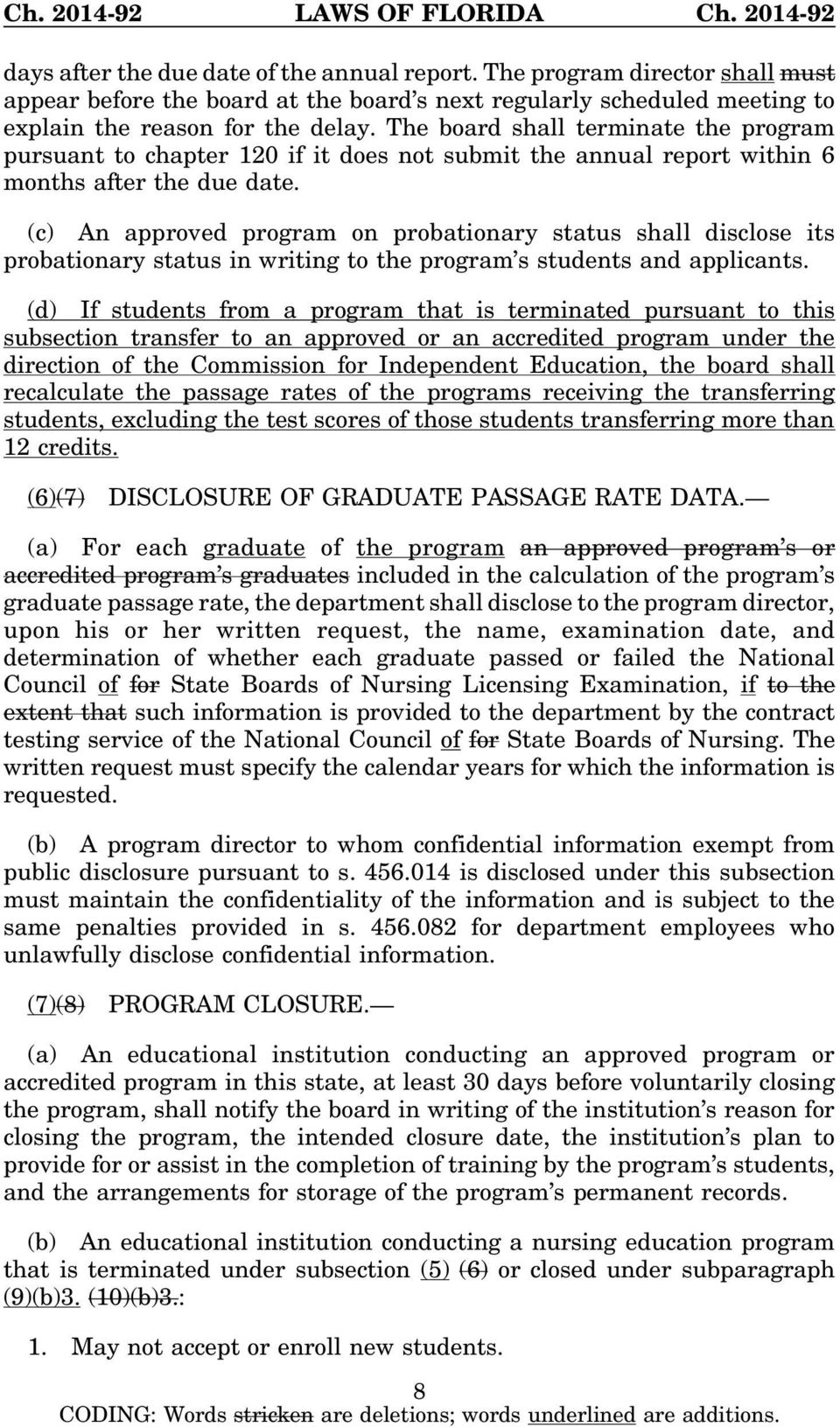 (c) An approved program on probationary status shall disclose its probationary status in writing to the program s students and applicants.