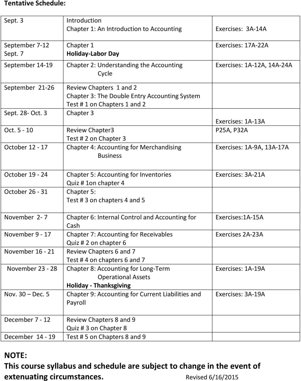 1A-12A, 14A-24A September 21-26 Review Chapters 1 and 2 Chapter 3: The Double Entry Accounting System Test # 1 on Chapters 1 and 2 Sept. 28- Oct. 3 Chapter 3 Oct.